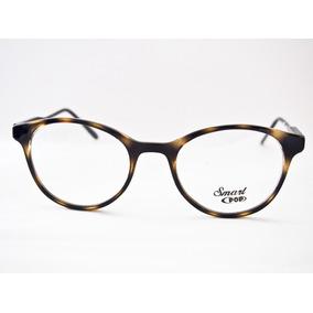 1fb06e4053d24 Armação Para Óculos Smart Acetato Redonda Retro Marrom