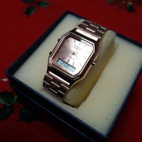 Reloj Casio Doble Tiempo Oro Rosa
