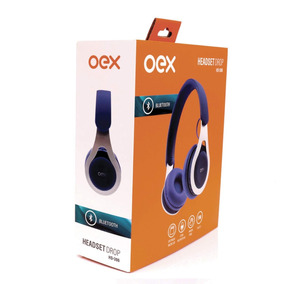 Headset Bluetooth C/ Microfone Oex Hs306 Drop C/ Fm Azul