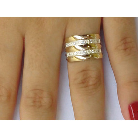 Promoção Lindo Anel 5 Elos Feminino Prata 950 Ouro Zircônias