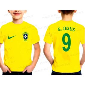 Camiseta Infantil Seleção Brasil Gabriel Jesus Copa 2018 682cd8aded3a1