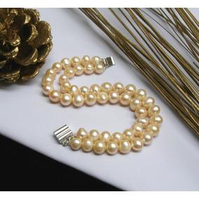 Pulsera Doble Perlas De Río Auténticas, Brazalete De Perlas
