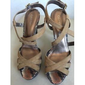 Sandália Plataforma Calvin Klein N39 Píton Com Tiras