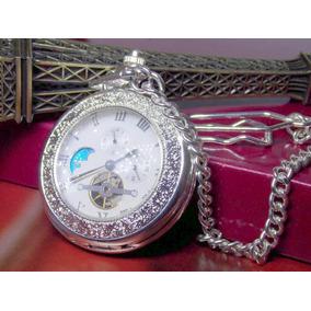 Relógio Bolso Heritage Coleção Corrente Mecanismo Corda Time
