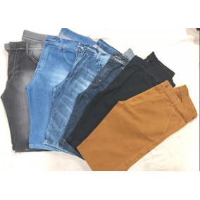 2 Bermudas C\ 2 Calças Masculinas Jeans E Sarja Lycra Slim