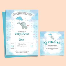 Invitacion Baby Shower Elefante Recuerdos Cotillon Y Fiestas En