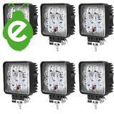 Caja X 6 Faro Reflector 12 24v 27w Cuadrado Para Cosechadora