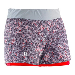 Shorts Salomon Park 2-in-1 Mujer Talla Xs Onix/infrared New