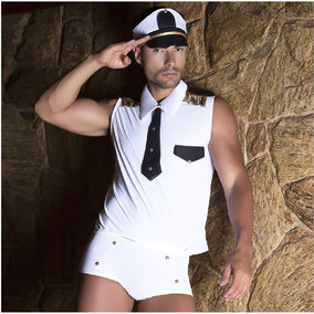 G132 Lingerie Sensual Marinheiro Cueca Camisa Gravata Quepe