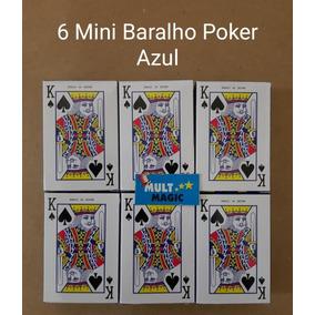 6 Mini Jogo De Baralho Poker 54 Cartas Truco Azul
