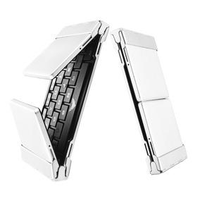 Teclado Alumínio Bluetooth Dobrável P/ Tablets Samsung Ipads