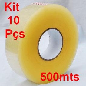 Kit C/ 10 Fita Adesiva Para Empacotamento 500 Metros