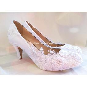 Hermosos Zapatos Novia, Tela Cristales Encaje Bordado