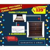 Cama 2 Plazas + 1 Velador + 2 Almohadas + Edredón + Sabanas