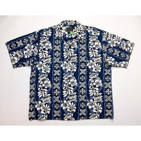 Camisa Hawaiana Tropical Floreada Surf Azul Talle Xl 592