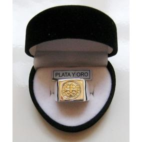 Anillo Sello Hombre San Benito Plata 925 Oro 18k
