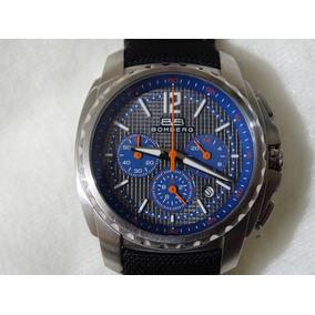 Bomberg Original Azul Cronografo Acero Piel Hombre