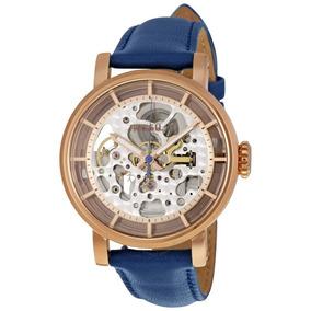 Reloj Fossil Me3086 Automatico Caballero Piel Azul