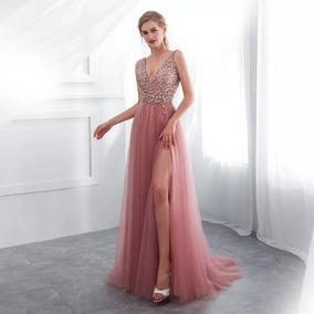 Vestido Fiesta De Noche Largo P-1830651 Envio Gratis ! Rosa