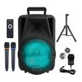 Parlante Portatil Bluetooth Gadnic Karaoke Luz 2 Mic Tripode