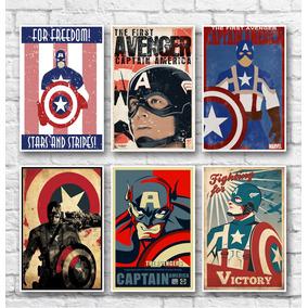 Kit Placas Decorativas Capitão América - 06 Placas
