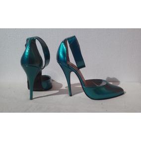 Zapatos Altos Turquesa Metalizado Todo Cuero Nuevos  38 63a9cdf2e03c