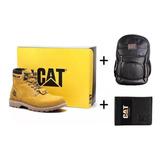 Bota Caterpillar Masculina + Bolsa + Carteira Cat Em Couro