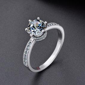 Anillo Compromiso Queens Crown Ak Jewelry Plata 925 Oro 18k