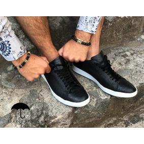 Tenis Sneaker Negros Moon & Rain 100% Piel