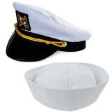 Sombrero De Yate De Capitán Adulto Y Sombrero De Marinero 04ec498ea29