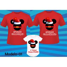 Kit Camisetas Para Natal Em Família Com Body 3 Peças