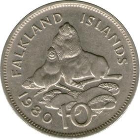 Spg Islas Malvinas 10 Pence 1980 Lobo Marino