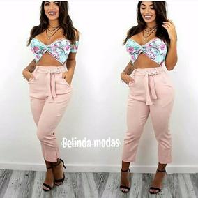 Calça Feminina Pantacourt Pantalona Com Fenda Moda Instagram