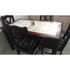 Mesa Mármore Para Refeição De Madeira Maciça Com 4 Cadeiras