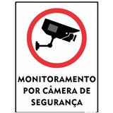 4 Placa Monitoramento Por Câmera De Segurança 15x20cm