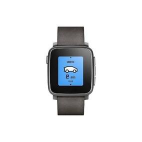Pebble - Tiempo De Acero De 38 Mm Smartwatch Cuero - Cuero N