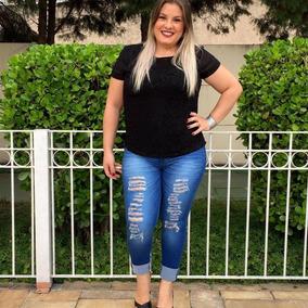 37debfc442d201 Calca Fundo Grande - Calças Feminino Azul aço no Mercado Livre Brasil