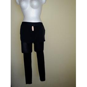 Leggings Con Shorts Xs Negro Con Franja De Color
