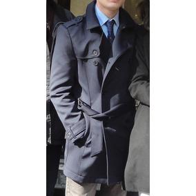 Casaco Trenchcoat Zara Azul Marinho Slim-fit Masculino Tam P