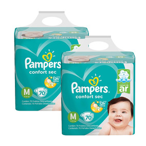Kit Fralda Pampers Confort Sec Super Tam. M Com 140 Unidades