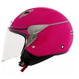 Capacete Motociclista Aberto Norisk Jet Linea Rosa Branco