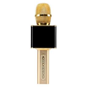 Microfone S/fio Karaokê Bluetoth Canta Playback Micro Sd Car