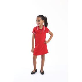 Vestido Polo Infantil Vermelho - Calçados db7a23895f6bb