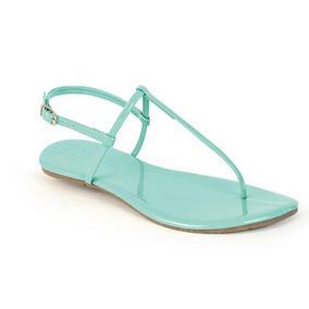 Sandália Flat Mercedita Shoes Verniz Ultra Macia Verde Água