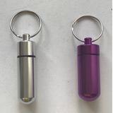Llavero Hermético Aluminio Pastillero Porta Píldoras Violeta