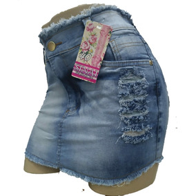 Roupas Femininas Saia Jeans Curta Com Lycra Botoes