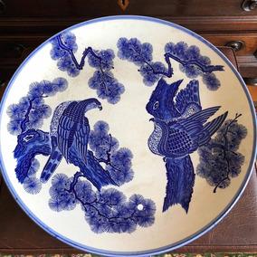 Antigo Prato Medalhão Porcelana Azul E Branco Cia Das Infias