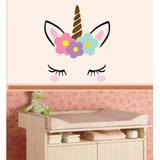 Adesivo Parede Infantil Unicórnio Cabeça Olhos Floral Blush