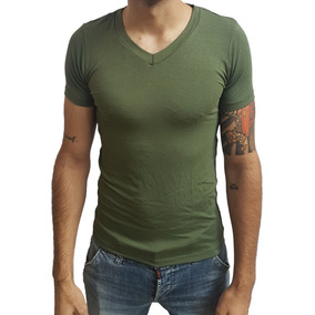 5 Camisas Camiseta Gola V Rasa Masculina Viscose Manga Curta