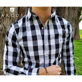 Camisa Slim Fit Argos Cuadros Negros Blanco Caballero Casual